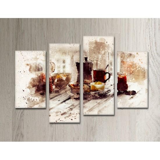 SV 053 لوحة جدارية مقسمة الى 4 قطع مطبوعة على خامة الكاتفاس ومشدودة على اطارات خشبية ، الحجم الكلي 150 في 100 سم موديل