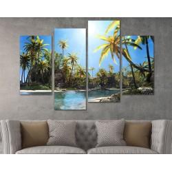 SV 096 لوحة جدارية مقسمة الى 4 قطع مطبوعة على خامة الكاتفاس ومشدودة على اطارات خشبية ، الحجم الكلي 150 في 100 سم موديل