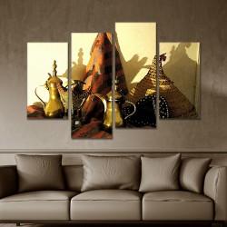 SV 063 لوحة جدارية مقسمة الى 4 قطع مطبوعة على خامة الكاتفاس ومشدودة على اطارات خشبية ، الحجم الكلي 150 في 100 سم موديل