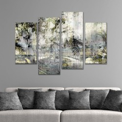SV 067 لوحة جدارية مقسمة الى 4 قطع مطبوعة على خامة الكاتفاس ومشدودة على اطارات خشبية ، الحجم الكلي 150 في 100 سم موديل