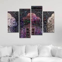 SV 074 لوحة جدارية مقسمة الى 4 قطع مطبوعة على خامة الكاتفاس ومشدودة على اطارات خشبية ، الحجم الكلي 150 في 100 سم موديل